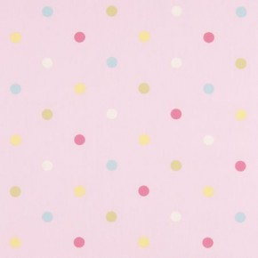 Clarke and Clarke Nostalgic Prints Multi Spot Pink Curtain Fabric
