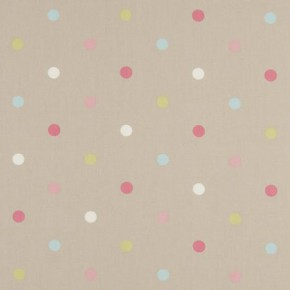 Clarke and Clarke Nostalgic Prints Multi Spot Taupe Curtain Fabric