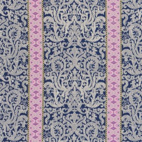 Clarke and Clarke Salon Musar Navy Curtain Fabric