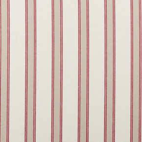 Clarke and Clarke Ticking Stripes Oxford Red Curtain Fabric