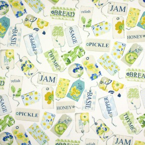 Prestigious Textiles Pickle Pantry Azure Curtain Fabric