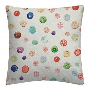 A Village Life  Button Box  Cream  Cushion
