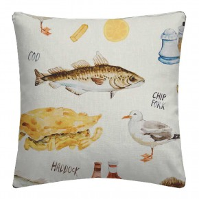 A Village Life  Chip Shop  Cream  Cushion
