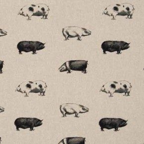 Clarke and Clarke Fougeres Pigs Noir Curtain Fabric