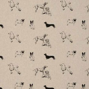 Clarke and Clarke Fougeres Pooches Noir Curtain Fabric