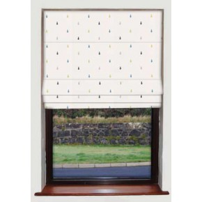 Raindrops Blue Roman Blind