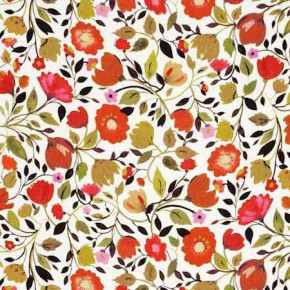 Clarke and Clarke Artbook Red Tulips Linen Autumn Curtain Fabric