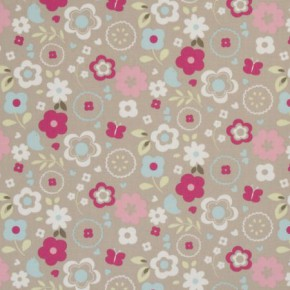 Clarke and Clarke Vintage Classics Retro Floral Taupe Made to Measure Curtains