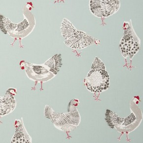 Clarke and Clarke Sketchbook Rooster Duckegg Curtain Fabric