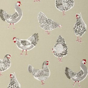 Clarke and Clarke Sketchbook Rooster Sage Curtain Fabric