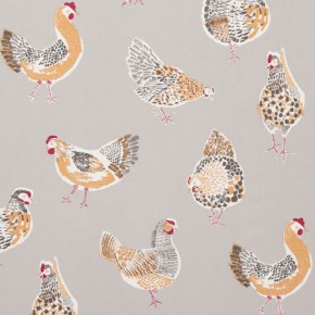 Clarke and Clarke Sketchbook Rooster Taupe Curtain Fabric