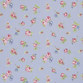 Clarke and Clarke Vintage Classics Rosebud Powder Blue Made to Measure Curtains