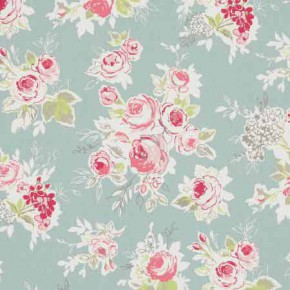Clarke and Clarke Garden Party Rose Garden Aqua Curtain Fabric