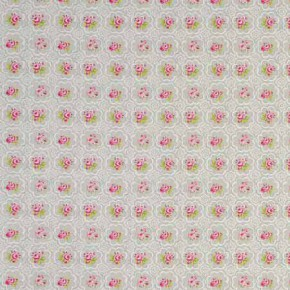 Clarke and Clarke Garden Party Rose Tile Pebble Curtain Fabric