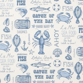 Clarke and Clarke Sketchbook Seafood Blue Curtain Fabric