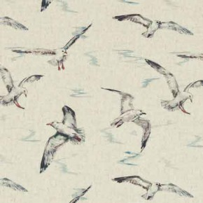 Clarke and Clarke Countryside Seagulls Linen Curtain Fabric