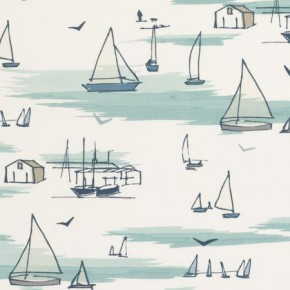 Clarke and Clarke Storybook Seashore Blue Curtain Fabric