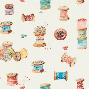 A Village Life  Sewing Cream  Curtain Fabric