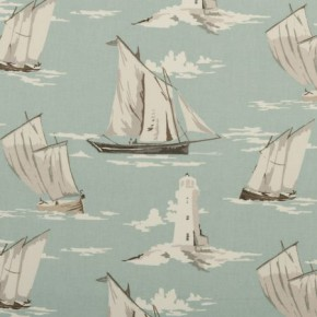 Clarke and Clarke Maritime Prints Skipper Mineral Curtain Fabric