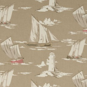 Clarke and Clarke Maritime Prints Skipper Taupe Curtain Fabric
