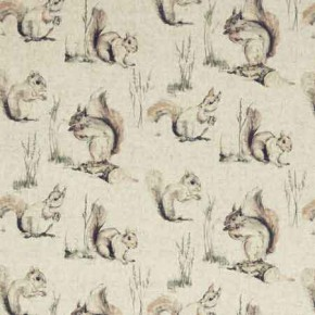 Clarke and Clarke Countryside Squirrels Linen Curtain Fabric