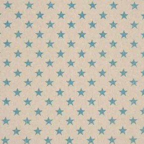 Clarke and Clarke Fougeres Stars Aqua Curtain Fabric