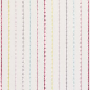 Clarke and Clarke Storybook Stitch Stripe Pink Curtain Fabric