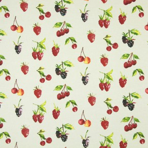 Country Fair Summer Berries Linen Curtain Fabric