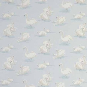 Clarke and Clarke Garden Party Swans Sky Curtain Fabric