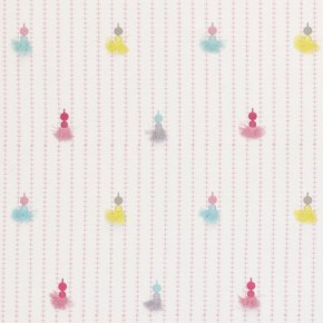 Clarke and Clarke Storybook Tassels Pink Curtain Fabric