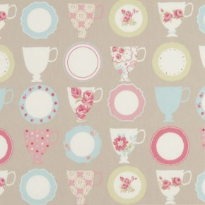 Clarke and Clarke Nostalgic Prints Teacups Taupe Cushion Covers