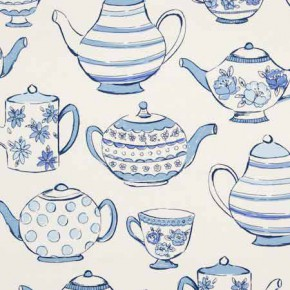Clarke and Clarke Blighty Teatime Blue Curtain Fabric