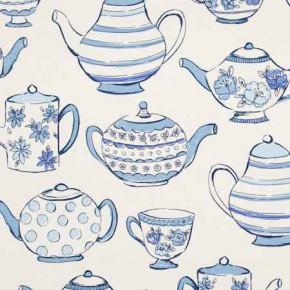 Clarke and Clarke Blighty Teatime Blue Curtain Fabric
