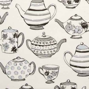 Clarke and Clarke Blighty Teatime Charcoal Curtain Fabric