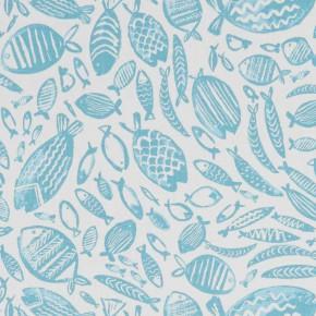 A Land and Sea Trawler Aqua  Curtain Fabric