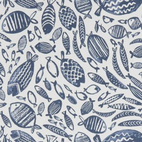 A Land and Sea Trawler Navy  Curtain Fabric