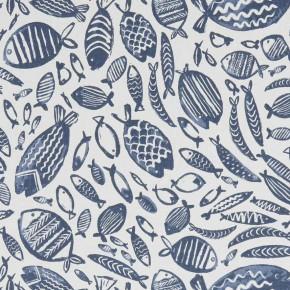 A Land & Sea Trawler Navy  Curtain Fabric
