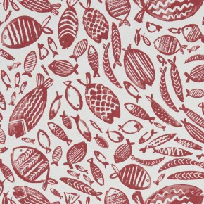 A Land and Sea Trawler Red Curtain Fabric