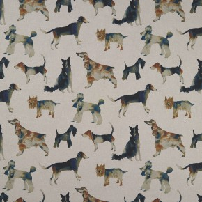 Country Garden Walkies Linen Curtain Fabric