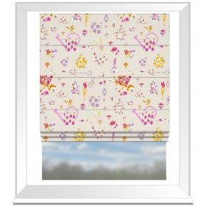 Clarke and Clarke Blighty Allotment Pink Roman Blind