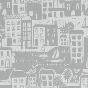 A Land & Sea Waterside Grey  Curtain Fabric