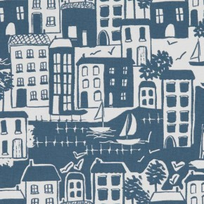 A Land and Sea Waterside Navy  Curtain Fabric