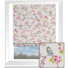 Clarke and Clarke Garden Party Birdies Pink Roman Blind