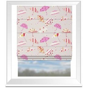 Clarke and Clarke Blighty Brollies Pink Roman Blind