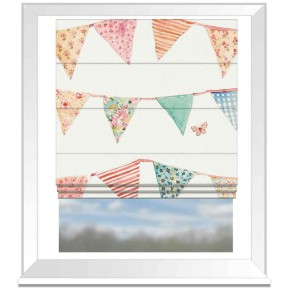 A Village Life  Bunting Cream  Roman Blind