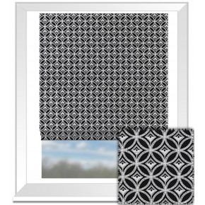 Clarke and Clarke BW1009 Black and White Roman Blind