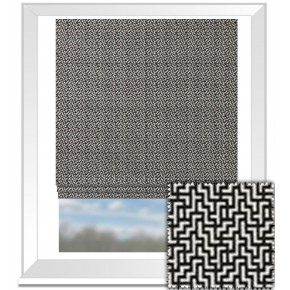 Clarke and Clarke BW1030 Black and White Roman Blind