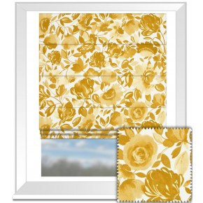 Clarke and Clarke Artbook Caitlin Linen Gold Roman Blind