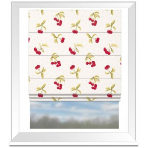 Clarke and Clarke Blighty Cherries Chintz Roman Blind
