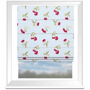 Clarke and Clarke Blighty Cherries Duckegg Roman Blind
